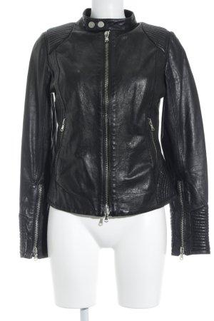 Alter Ego Veste en cuir noir Look de motard