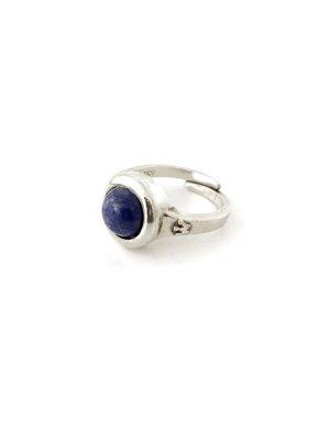 Alter Silber Ring 835 gestempelt mit Lapislazuli Stein Edelstein Krone