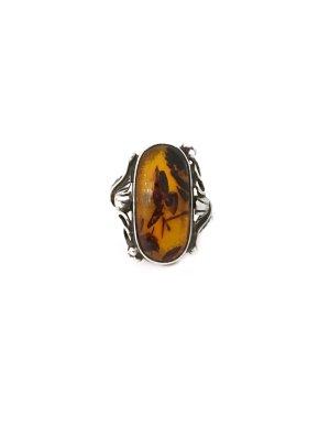 Alter Vintage 925 Sterling Silber Ring mit echtem Bernstein Silberring Antik Jugendstil Art Deco