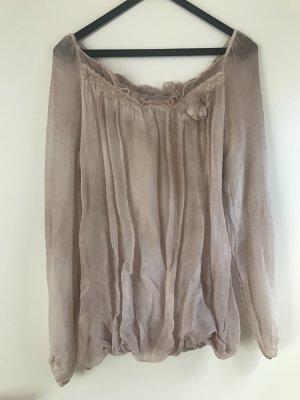 Altrosa Bluse mit transparenten Ärmeln