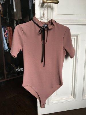 Altrosa Body rosa Schleife tshirt Kragen Blusenbody