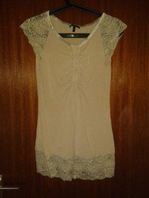 Altrosa Shirtkleid mit Spitze, zum knöpfen