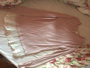 Altrosa Sweatshirt mit weißer Spitze
