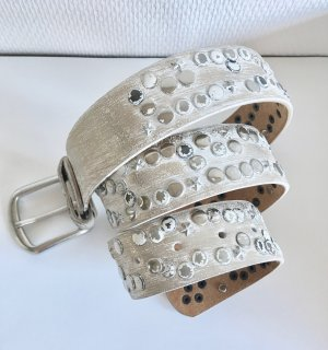 Studded Belt silver-colored-white leather