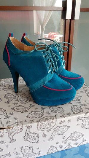 Chaussure à talons carrés turquoise-rose tissu mixte
