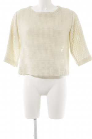 Alysi Oversized Pullover creme Lochstrickmuster Casual-Look