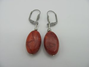 Earring silver-colored-dark red