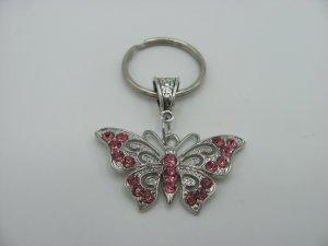 Porte-clés argenté-rose