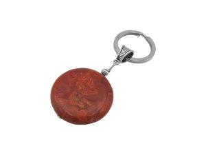 Porte-clés argenté-rouge brique
