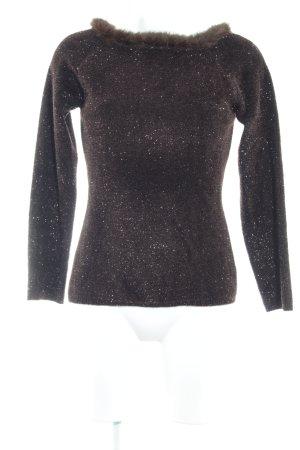 Amann Rundhalspullover schwarz-brombeerrot extravaganter Stil