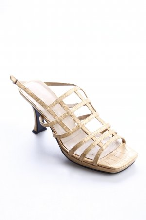 AMB Baldan Strapped High-Heeled Sandals gold-colored-cream reptile print