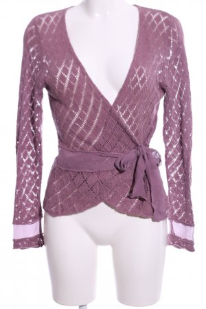 Ambee Knitted Wrap Cardigan lilac graphic pattern casual look