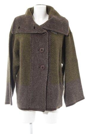 Ambee Wool Blazer grey-olive green striped pattern casual look