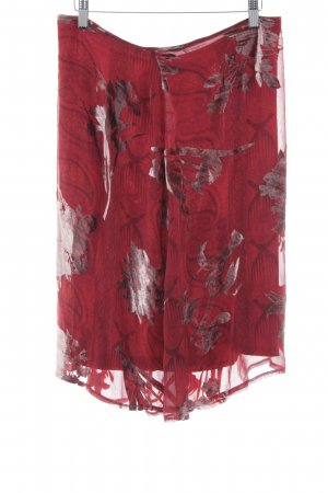 Ambiente Flared Skirt red-silver-colored flower pattern elegant
