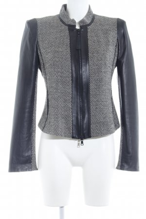 Ambiente Leather Jacket cream-black zigzag pattern business style