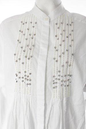 Ambiente Long-Bluse weiß-silberfarben Elegant