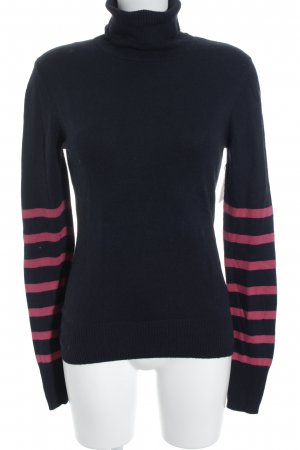 Ambiente Turtleneck Sweater dark blue-magenta striped pattern casual look