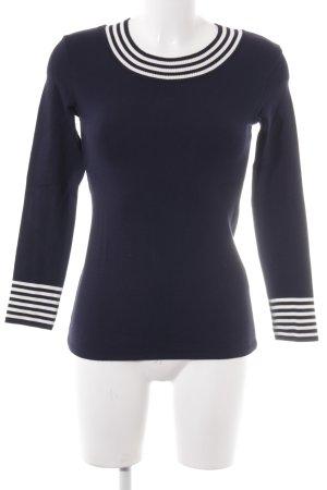 Ambiente Jersey de cuello redondo azul oscuro-blanco estilo clásico
