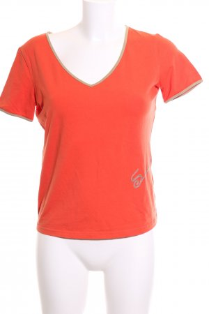 Ambiente T-Shirt light orange printed lettering casual look