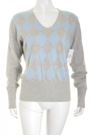 Ambiente V-Neck Sweater light grey-azure simple style