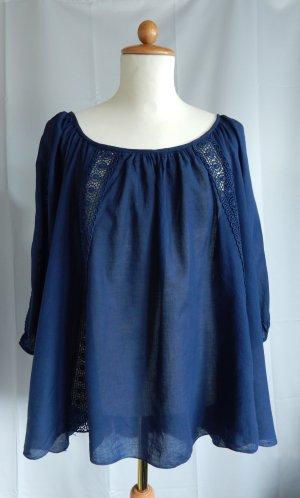 Slip-over blouse donkerblauw Katoen