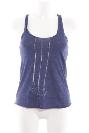 American Apparel Basic Top blau Motivdruck Casual-Look