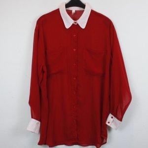 American Apparel Bluse Hemdbluse Gr. S rot mit gepunktetem Kragen weiß (18/2/286)