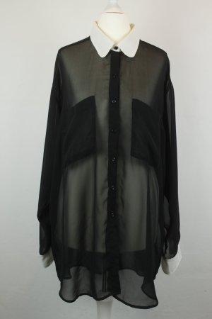 American Apparel Bluse Longbluse Gr. One Size schwarz weiß
