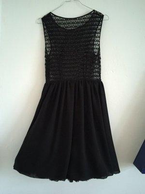 American Apparel Chiffon Kleid schwarz lace spitze