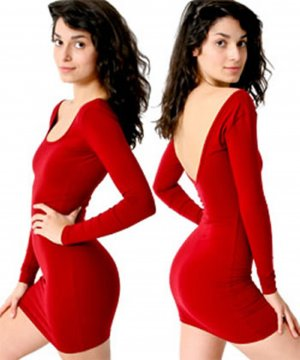 American Apparel Cotton Spandex Jersey Double U-Neck Long Sleeve Kleid