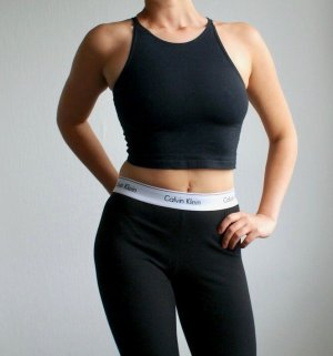 American Apparel Crop Top Cropped Shirt Schwarz 90s Style