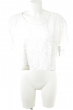 American Apparel Cropped Shirt wollweiß Streifenmuster Casual-Look