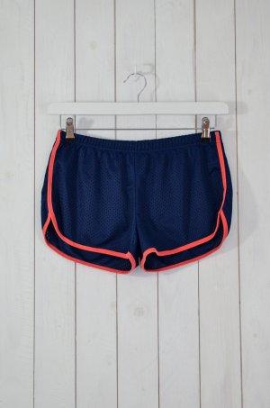 AMERICAN APPAREL Damen Sportshorts Blau Orange Lochmuster Gr.L