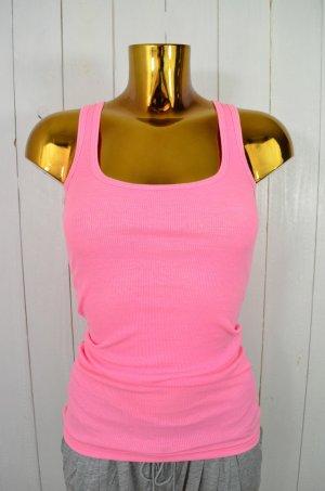 AMERICAN APPAREL Damen Tank Top Neon-Pink Rippe Rundhals Baumwolle Gr.S