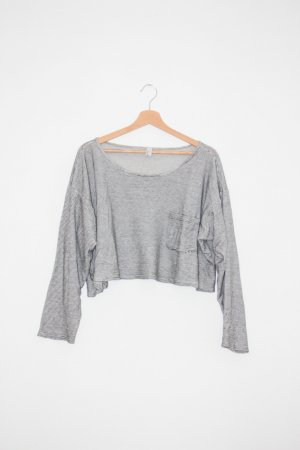 American Apparel Cropped shirt wit-zwart Katoen