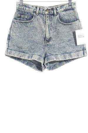 American Apparel High-Waist-Shorts dunkelblau-hellgelb Vintage-Look