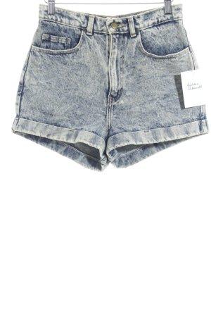 American Apparel High-Waist-Shorts dunkelblau-hellgelb Vintage-Look