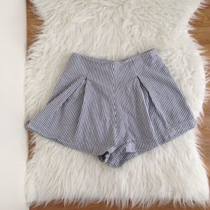AMERICAN APPAREL Highwaist Hampton Shorts XS gestreift weiß 100 % Baumwolle