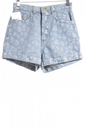 American Apparel Denim Shorts azure-natural white flower pattern casual look