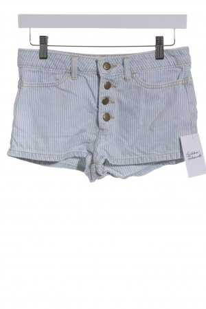 American Apparel Jeansshorts wollweiß-himmelblau Streifenmuster