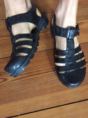 American Apparel Strapped Sandals black synthetic material