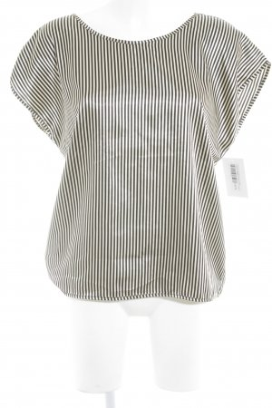 American Apparel Short Sleeved Blouse black-oatmeal striped pattern elegant
