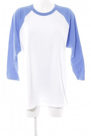 American Apparel Langarm-Bluse weiß-kornblumenblau Colourblocking Casual-Look