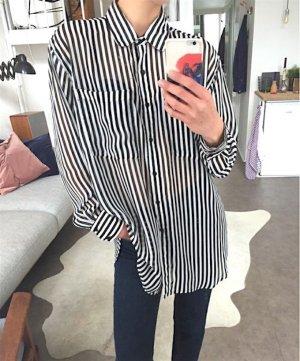 American Apparel Oversize Chiffon Bluse Hemd Cosy Clean Chic Streifen Statement Onesize
