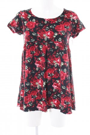 American Apparel Oversized Shirt schwarz-rot Blumenmuster Casual-Look