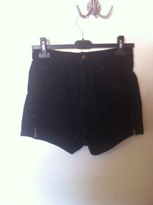 American Apparel schwarze shorts mit Reisverschluss Detail