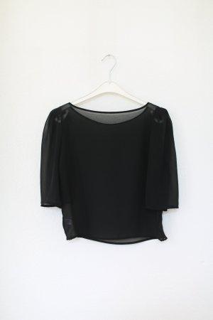 American Apparel Sheer Transparent Bluse Chiffon Top schwarz Puffärmel Gr. S NEU!