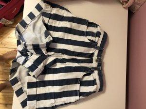 American Apparel Short taille haute blanc-bleu foncé