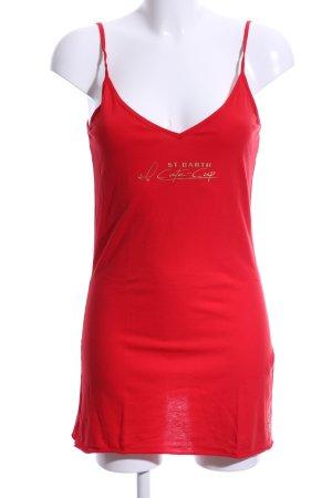 American Apparel Top con bretelline rosso-oro caratteri stampati stile casual