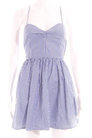 American Apparel Vestido tipo overol blanco-azul estampado a rayas